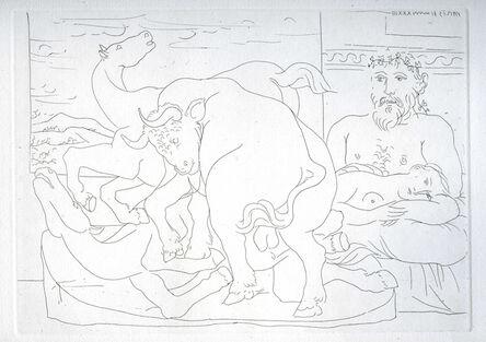 Pablo Picasso, ''Sculpteur et son modèle avec un groupe sculpté représentant un taureau attaquant des chevaux' from the 'Suite Vollard'', 1933