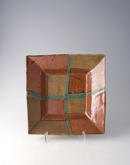 Shōji Hamada, 'Square dish, kaki glaze with trailed decoration', 1960