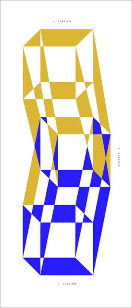 José Hidalgo-Anastacio, 'Specific Nahua Exercise # 1 (Ó Proyección de tres cubos a partir de un cuadrado que mide 1 ciacatl personalizado)', 2015