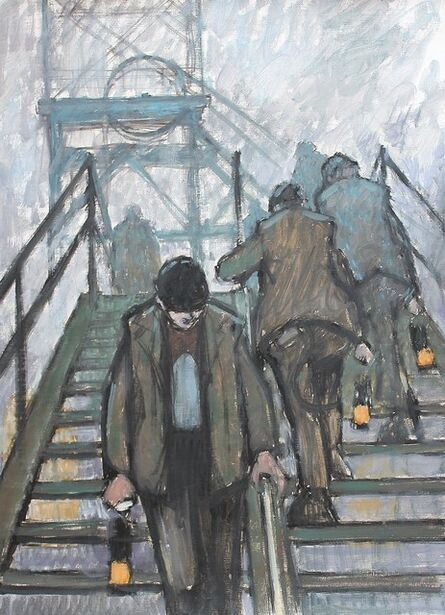 Norman Cornish, 'Miners on the gantry with lamps'