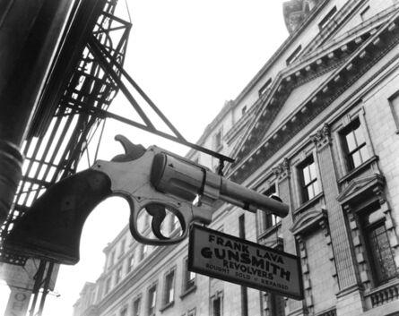 Berenice Abbott, 'Gunsmith and Police Department, 6 Centre Market Place, Manhattan', 1937