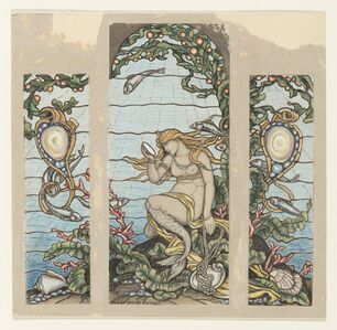 """Elihu Vedder, '""""The Mermaid Window"""", Design for Stained Glass Window for the A.H. Barney Residence, New York, NY', 1882"""