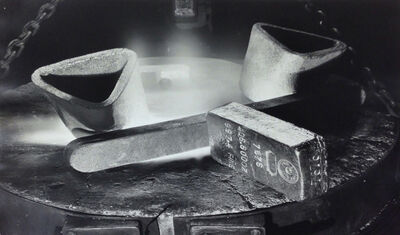 Margaret Bourke-White, 'Newly stamped bar of gold resting on lip at a melting furnace at the US AssayOffice, New York City', 1936