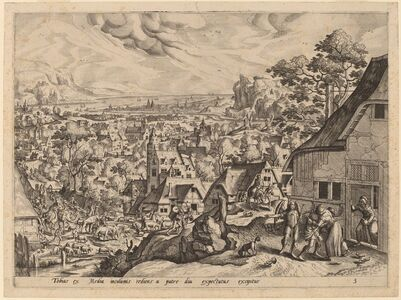 Gerard de Jode after Hans Bol, 'Tobias Returns Home with His Bride'