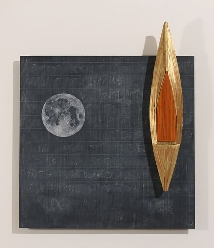 David Ruddell, ' Blackboard/Full Moon/Gold Boat', 2020