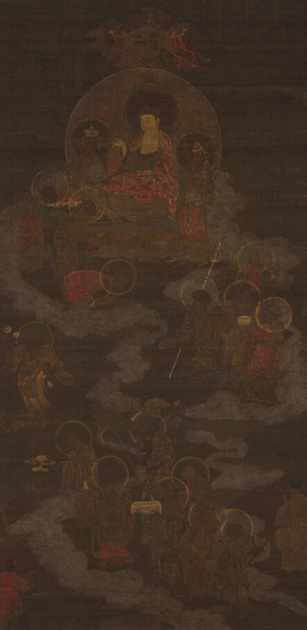 Unknown Artist, 'Sakyamuni Triad and Sixteen Arhats', Goryeo Dynasty-14th century