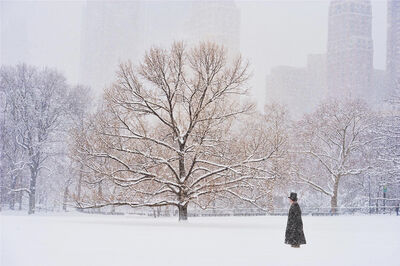 Mitchell Funk, 'Man With Top Hat In Central Park During Snowstorm ', 2010