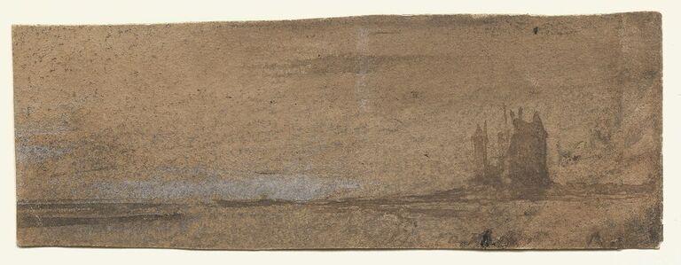Victor, Hugo, 'Castel and landscape', ca. 1850