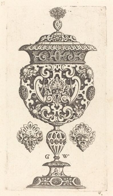 Georg Wechter I, 'Goblet, rim decorated with masque with  gaping mouth', published 1579