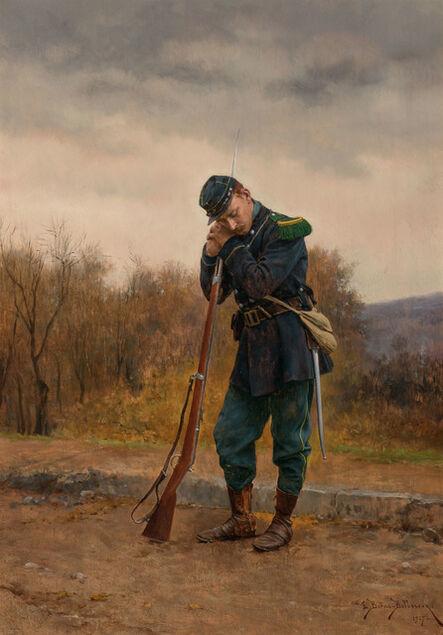 Etienne Prosper Berne-Bellecour, 'Dozing on Sentry Duty', 1907