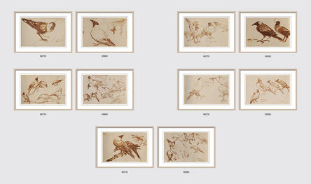 """Dipen Bose, 'Crow Series, Set of 5, Brush on Paper, Recto & Verso by Modern Artist """"In Stock""""', 1961-1964"""