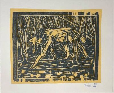 Billy Childish, 'Wolf In Birchwood', 2021
