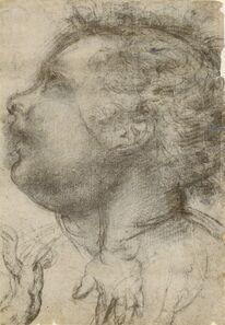 Baccio della Porta, called Fra Bartolommeo, 'Head of a Child, an Angel and a Hand (recto), Male Figure (verso)', 1510-1515