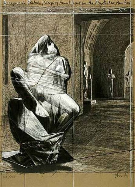 Christo, 'Wrapped Statues, Sleeping Fawn, Project for the Glyptothek', 2000