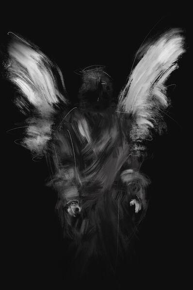 Denise Giordano, 'Angel 4, Angels, Angel, digital art, wings, messengers, spiritual, black and white, 2020, mysterious, creative, original, innovative, print', ca. 2020