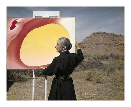 Tony Vaccaro, 'Georgia O'Keeffe with painting, New Mexico,1960', 1960