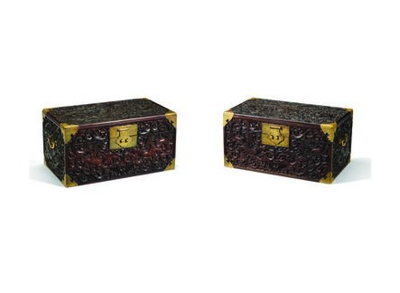 Unknown, 'A pair of zitan book chests', Qing dynasty, Qianlong period (1735, 1796)