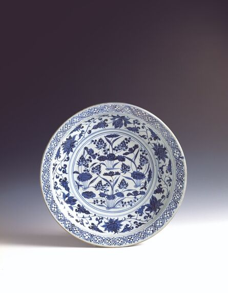 Anonymous, 'Large plate with design of lotus pond in underglaze blue', 1301-1345