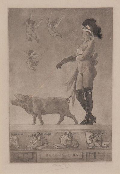 Félicien Rops, 'LA DAME AU COCHON OU PORNOKRATES', 1879