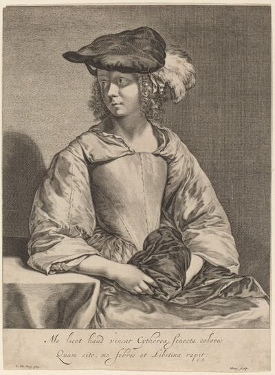 Hendrick Bary after Gerard ter Borch the Younger, 'Girl in a Plumed Hat'