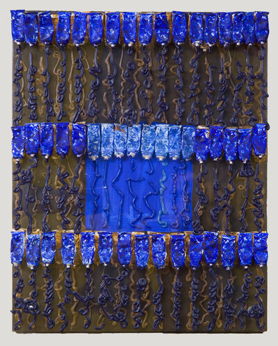 Arman, 'Untitled Superposition (blue over brown)', 2001