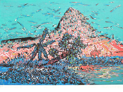 HE KUN, 'Pond at the foot of a Mountain', 2014