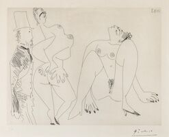 Pablo Picasso, '156 series: Degas in Top Hat Viewing Two Nudes (Bloch 1960)', 1971