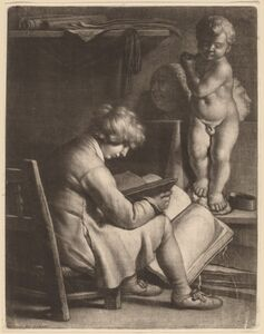 Wallerant Vaillant, 'Young Man with a Statue of Cupid'