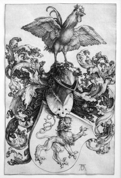 Albrecht Dürer, 'Coat of Arms with Lion and a Cock', 1502