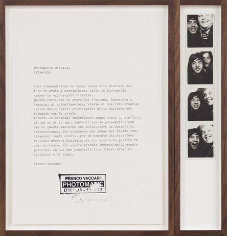 Franco Vaccari, 'Photomatic d'Italia', 1972-1974