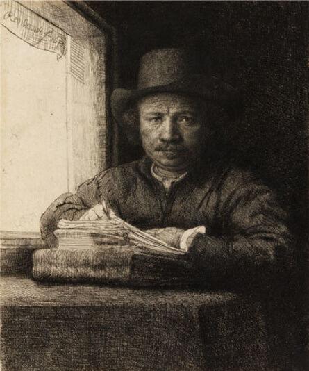 Rembrandt van Rijn, 'Rembrandt Drawing at a Window', ca. 1648