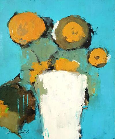 Ammar Alnahhas, 'White vase with orange flowers', 2021