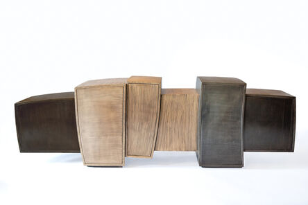 Gary Magakis, 'Blackened Steel and Bronze Console with Cantilevered End Cabinets', 2014