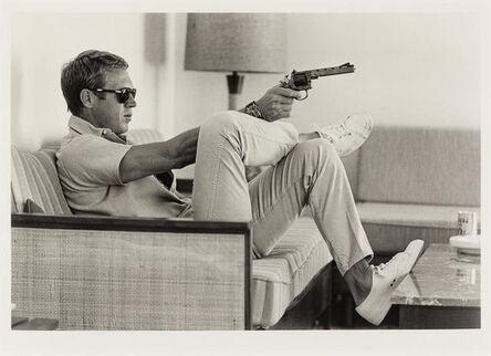 John Dominis, 'Steve Mcqueen Aims a Pistol in His Living Room', 1963