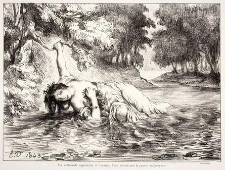 """Eugène Delacroix, 'Mort d'Ophélie (Act IV. Sc. VII), from the series """"Hamlet""""', 1843"""
