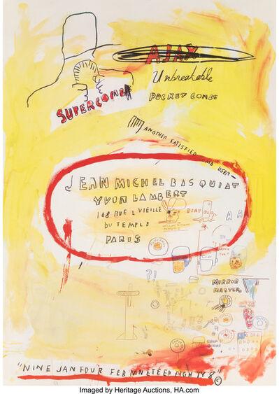 Jean-Michel Basquiat, 'Supercomb, exhibition poster', 1988