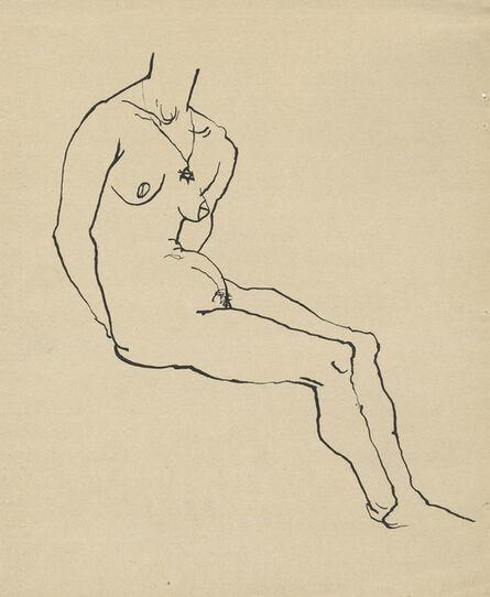 George Grosz, 'Akt auf den Händen sitzend, mit Davidstern', 1914