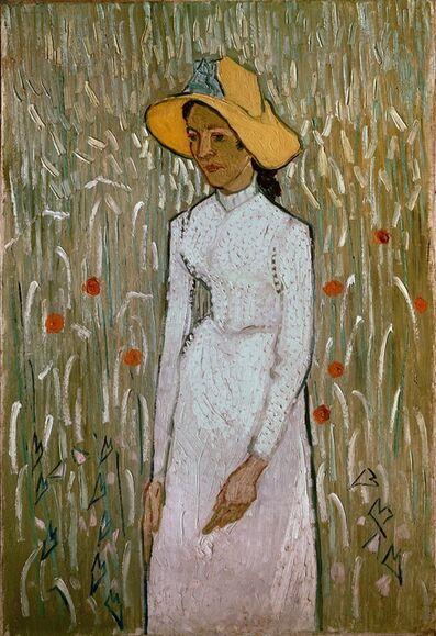 Émile Bernard, 'Woman in a field of poppies', 1890