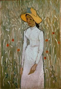 Émile Bernard, 'Woman in a field of poppies', 1890