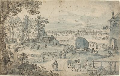 Lodewyk Toeput, 'Summer Harvest in an Extensive Landscape'
