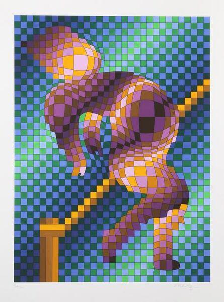 Victor Vasarely, 'Harlequin Sportif aka Pole Vault', 1988