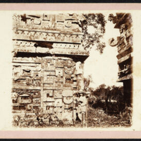 Augustus Le Plongeon, '[Alice Le Plongeon in front of the east facade of Las Monjas Annex, Chich'n Itz]', 1873