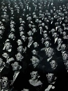 "J. R. Eyerman, 'Audience watches premiere of ""Bwana Devil"" wearing polaroid spectacles to enjoy the three dimensional sequences, Hollywood, CA', 1952"