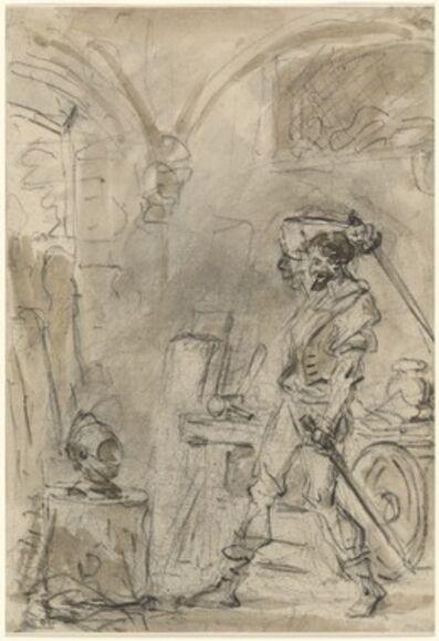 Jean-Honoré Fragonard, 'Don Quixote about to Strike the Helmet', 1780s