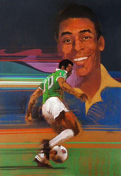 Bob Peak, 'Pelé   Brazilian,  footballer, Soccer Star, Illustration.', ca. 1983