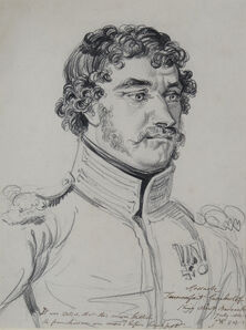 James Ward, 'Portrait of Tamorfait Carborlof, a Don Cossack from His Majesty's Life Guards Cossack Regiment', 1814