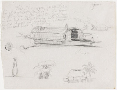 Frederic Edwin Church, 'Sketches from Colombia: River Craft (Champan), a Woman, Group of Trees, a House', 1853