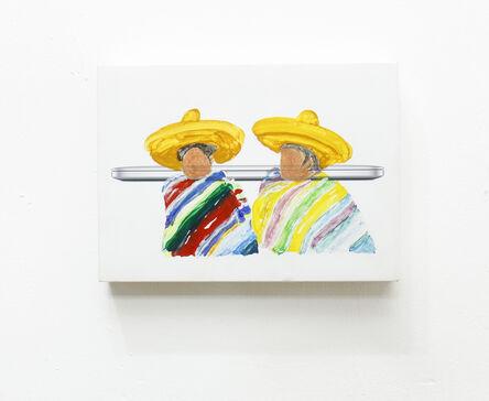 Juan Caloca, 'Indio NAFTEADO 2 (agachados)', 2018