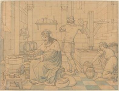 Edward Jakob von Steinle, 'Saint Wenzel Cooking Hosts as Two Youths Press Wine', 1866