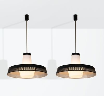 Stilnovo, 'a pair of pendant lamps with a lacquered metal structure and opaline glass shade', ca. 1950